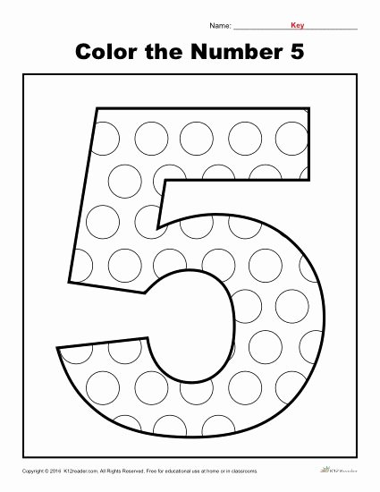 Number 5 Worksheets for Preschoolers Ideas Color the Number Preschool Worksheet Worksheets for Fraction