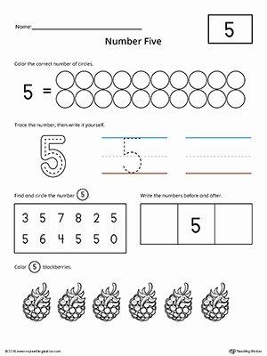 Number 5 Worksheets for Preschoolers Inspirational Number 5 Practice Worksheet