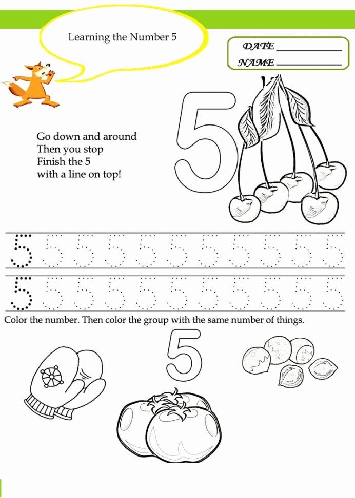 Number 5 Worksheets for Preschoolers New Number Worksheets for Children Activity Shelter Preschool