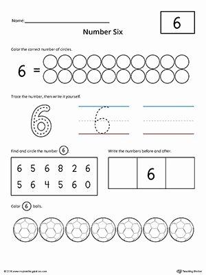 Number 6 Worksheets for Preschoolers Inspirational Number 6 Practice Worksheet