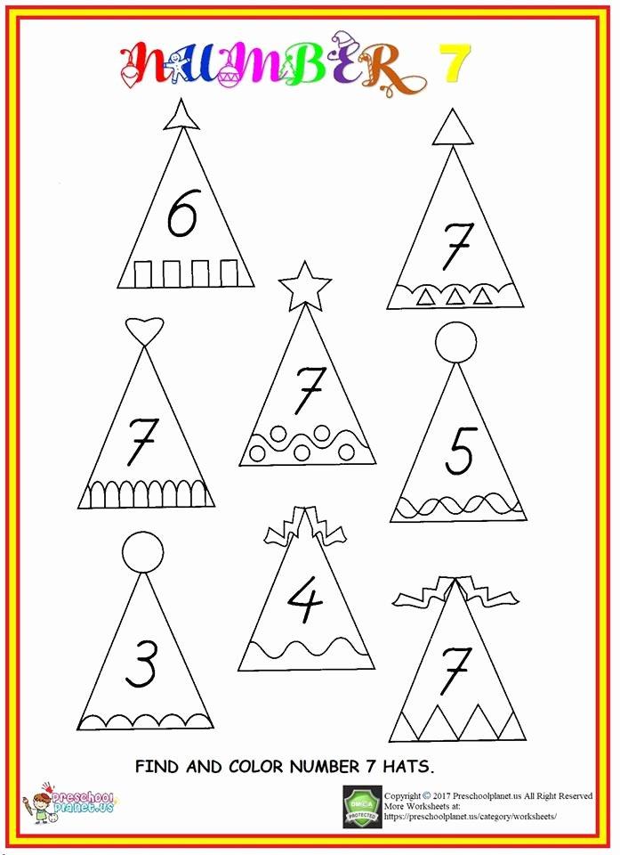 Number 7 Worksheets for Preschoolers Ideas Find Number 7 Worksheet – Preschoolplanet