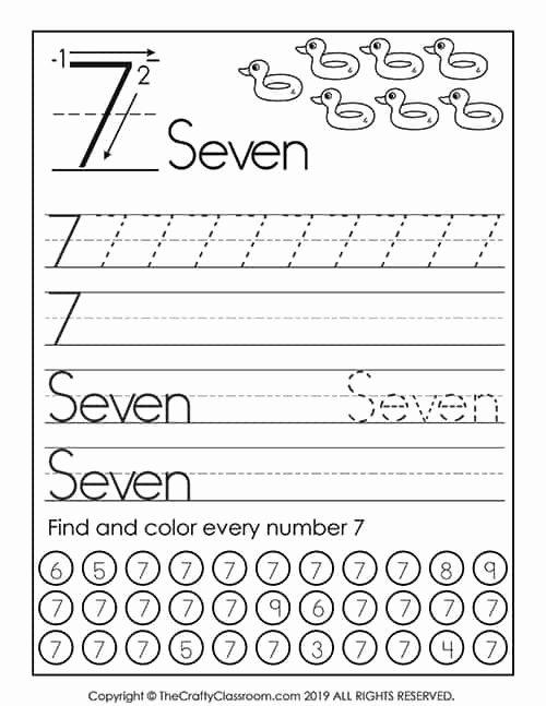 Number 7 Worksheets for Preschoolers Ideas Preschool Number Worksheets Preschool Mom