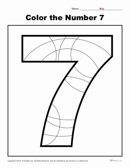Number 7 Worksheets for Preschoolers Kids Color the Number 7