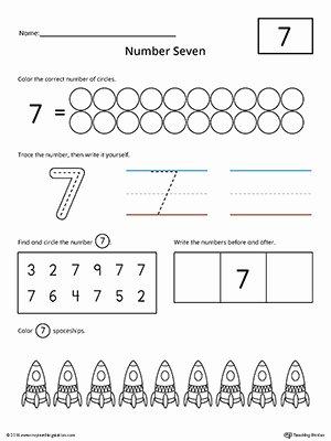 Number 7 Worksheets for Preschoolers Kids Number 7 Practice Worksheet