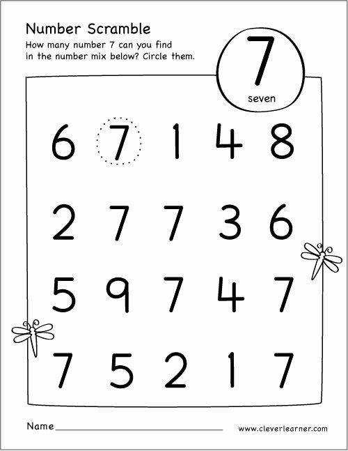 Number 7 Worksheets for Preschoolers New Free Printable Scramble Number Seven Activity