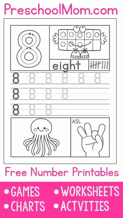 Number 8 Worksheets for Preschoolers Ideas Preschool Number Worksheets Preschool Mom