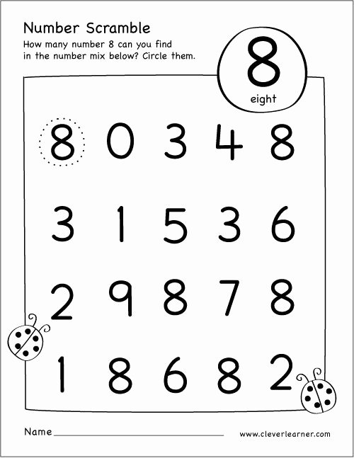 Number 8 Worksheets for Preschoolers Inspirational Free Printable Scramble Number Eight Activity
