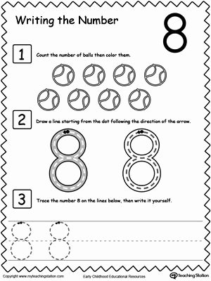 Number 8 Worksheets for Preschoolers Inspirational Learn to Count and Write Number 8