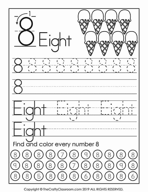 Number 8 Worksheets for Preschoolers Lovely Preschool Number Worksheets Preschool Mom