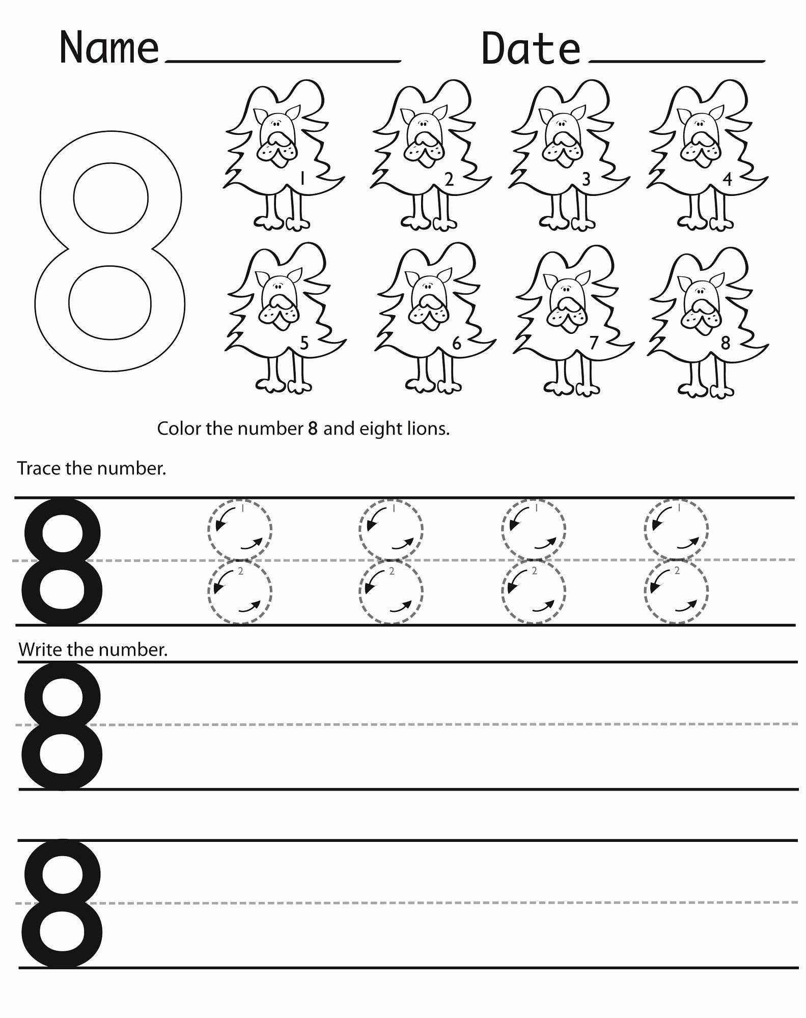Number 8 Worksheets for Preschoolers New Number 8 Worksheets Printable