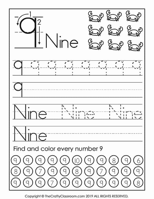 Number 9 Worksheets for Preschoolers Best Of Preschool Number Worksheets Preschool Mom