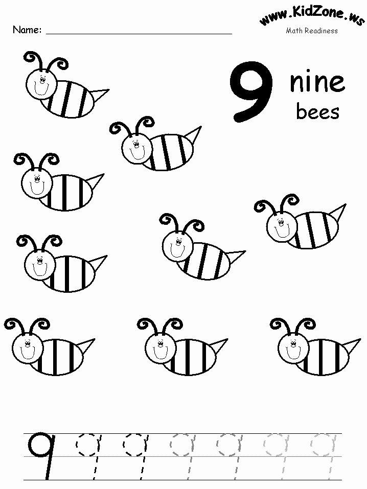 Number 9 Worksheets for Preschoolers Free Number 9 Worksheet for Preschool In 2020