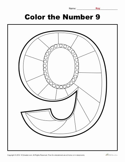 Number 9 Worksheets for Preschoolers Ideas Color the Number 9