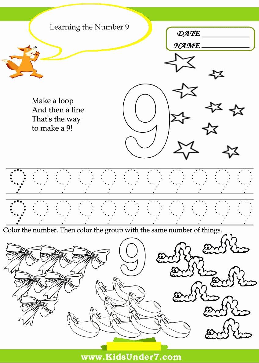 Number 9 Worksheets for Preschoolers Lovely 5 Best Of Printable Number 9 Worksheets Printable