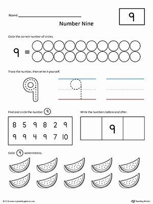 Number 9 Worksheets for Preschoolers Printable Number 9 Practice Worksheet