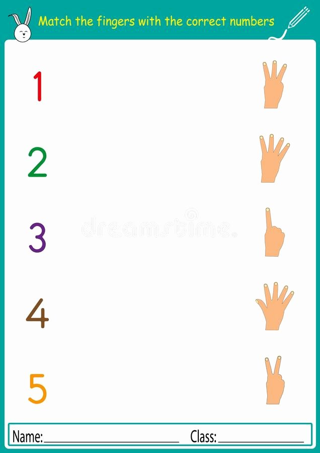 Number Matching Worksheets for Preschoolers Ideas Match the Fingers with the Correct Numbers Math Worksheet