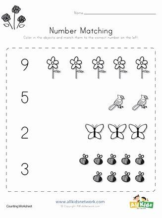 Number Matching Worksheets for Preschoolers Ideas Spring Number Matching Worksheet