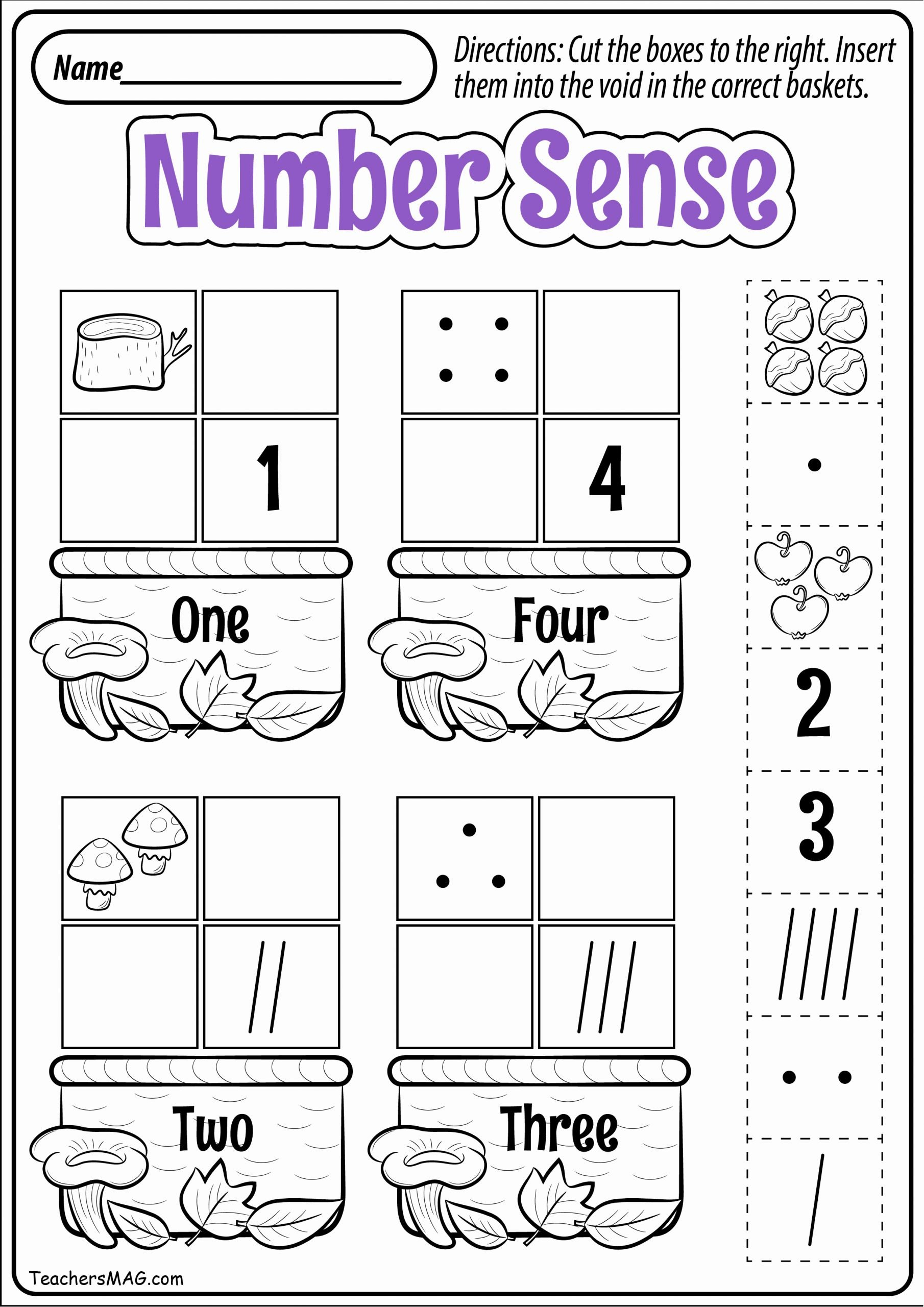 Number Sense Worksheets for Preschoolers Lovely Teachersmag