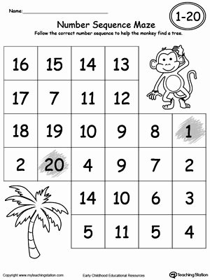 Number Sequencing Worksheets for Preschoolers Inspirational Practice Number Sequence with Number Maze 1 20