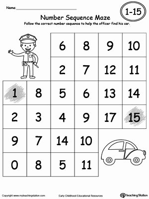 Number Sequencing Worksheets for Preschoolers Kids Practice Number Sequence with Number Maze 1 15