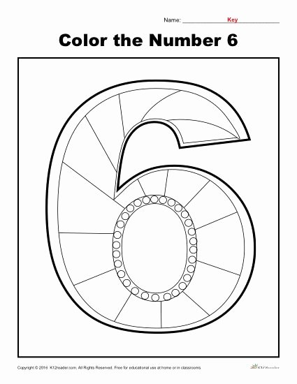 Number Six Worksheets for Preschoolers Free Color the Number 6