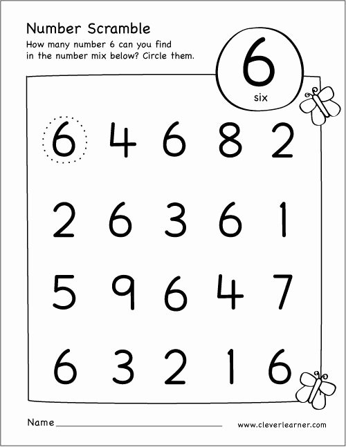 Number Six Worksheets for Preschoolers Free Free Printable Scramble Number Six Activity