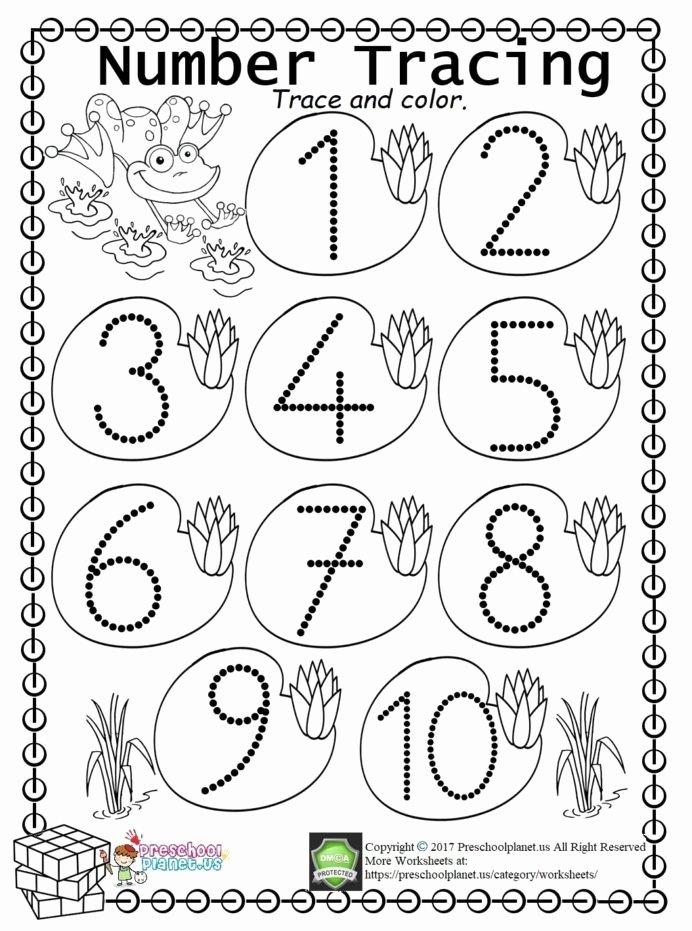 Number Tracing Worksheets for Preschoolers Kids Worksheet Worksheets Kindergarten Trace Freeintable All