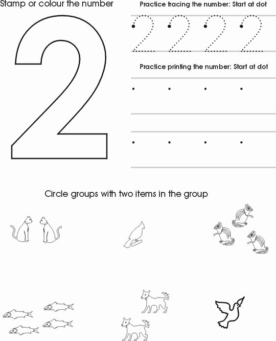 Number Two Worksheets for Preschoolers Free Number Two Worksheet Free Preschool Printable