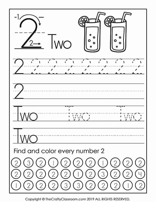 Number Two Worksheets for Preschoolers Free Preschool Number Worksheets Preschool Mom