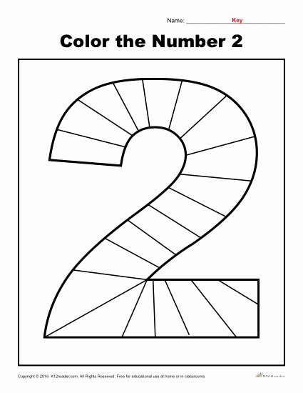 Number Two Worksheets for Preschoolers Fresh Color the Number Preschool Worksheet Worksheets for 2nd