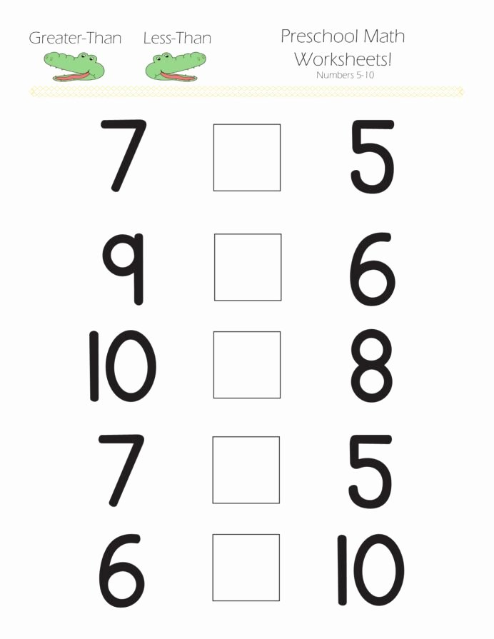 Numeracy Worksheets for Preschoolers Printable Greater Than Less Preschool Math Worksheets Hard Subtraction