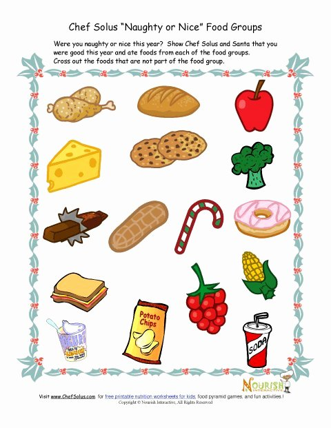 Nutrition Worksheets for Preschoolers Best Of Kids Food Groups Christmas Worksheet