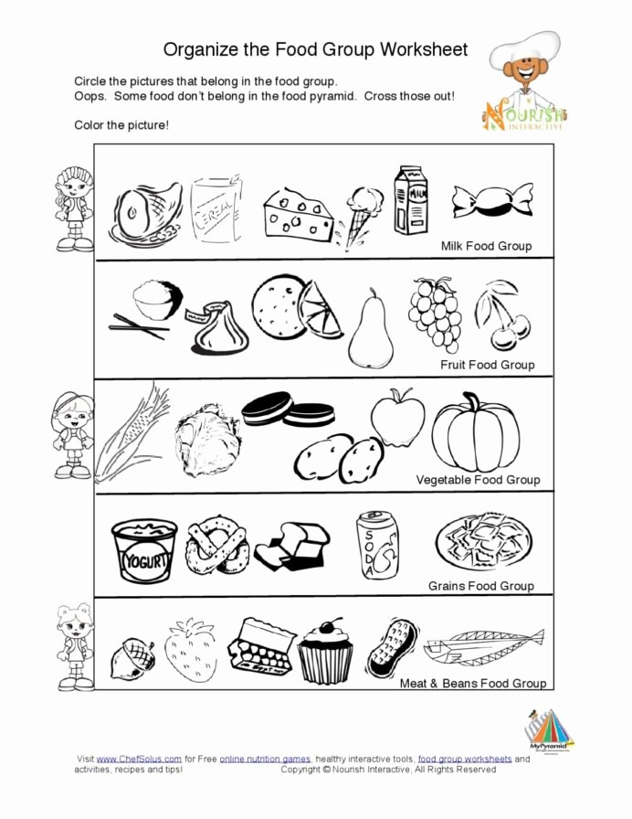 Nutrition Worksheets for Preschoolers Inspirational Food Group Worksheets Free Worksheet Groups for Kids Math