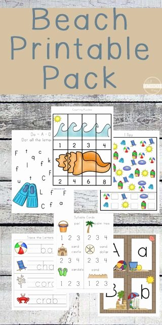 Ocean themed Worksheets for Preschoolers Free Free Beach Worksheets for Preschool K 1st