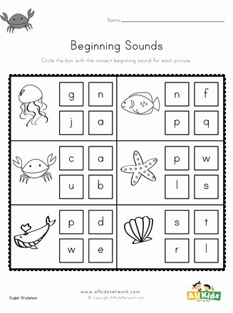 Ocean themed Worksheets for Preschoolers Inspirational Ocean Beginning sounds Worksheet