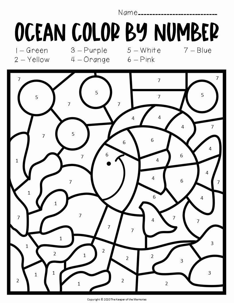 Ocean Worksheets for Preschoolers New Color by Number Ocean Preschool Worksheets Under the Sea