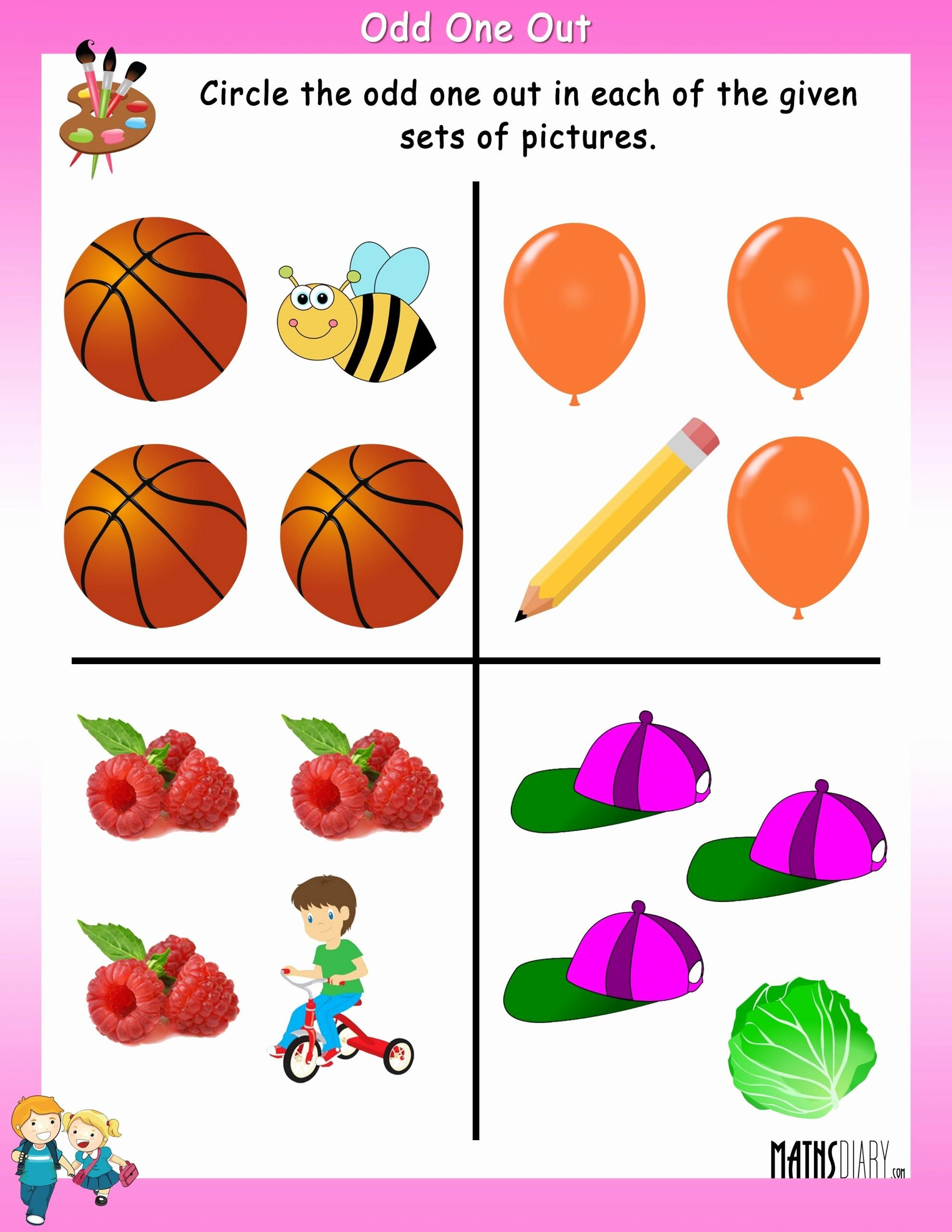 Odd One Out Worksheets for Preschoolers Fresh Circle the Odd One Out Mathsdiary