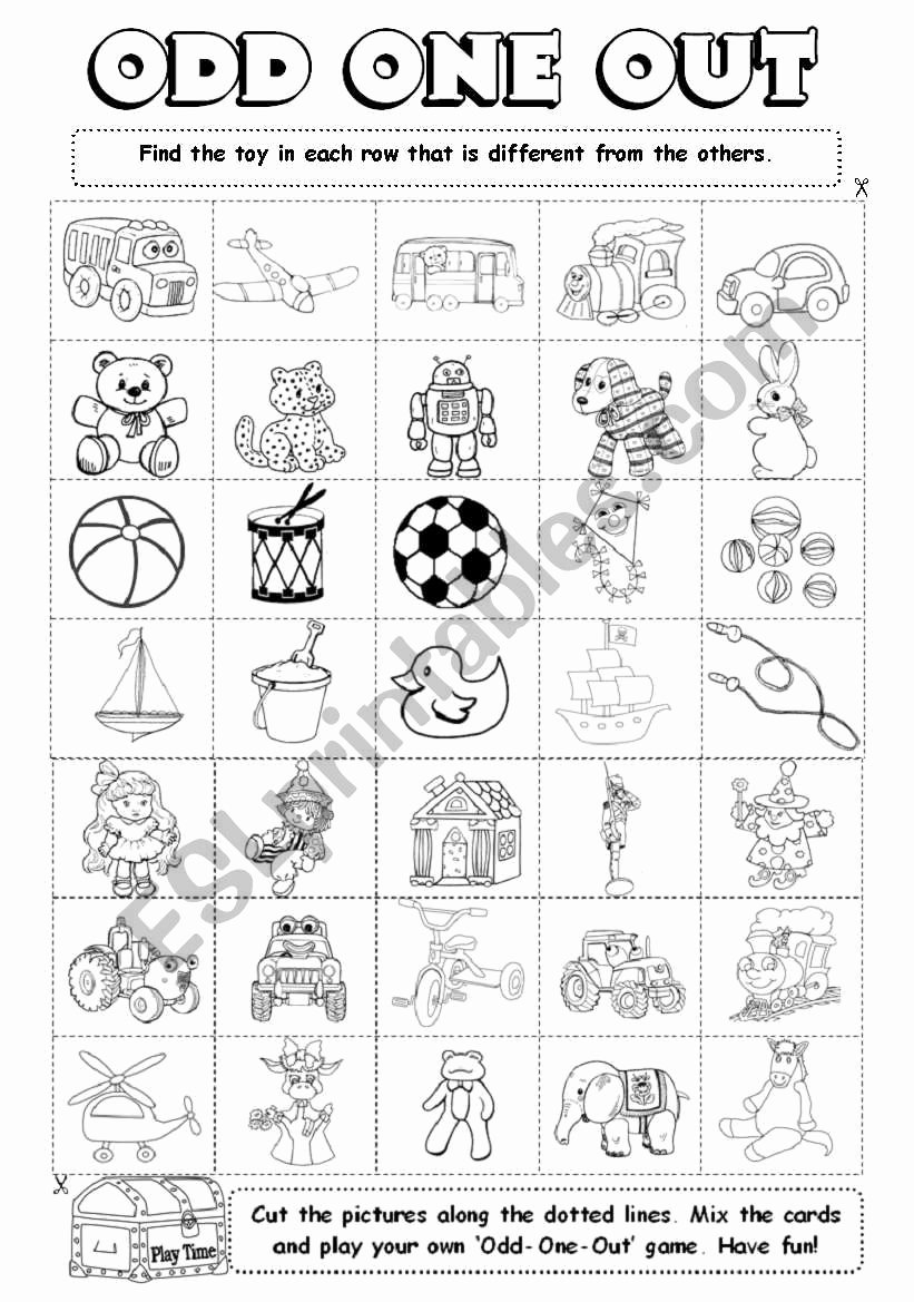 Odd One Out Worksheets for Preschoolers Ideas Odd E Out 4 6 Esl Worksheet by Gabitza