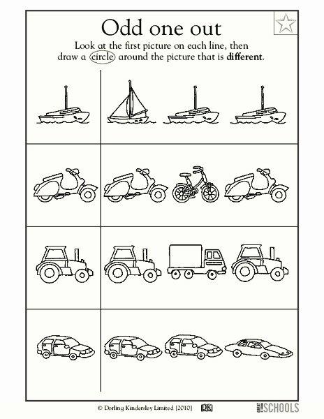 Odd One Out Worksheets for Preschoolers Ideas Odd E Out Worksheet for Pre K Kindergarten