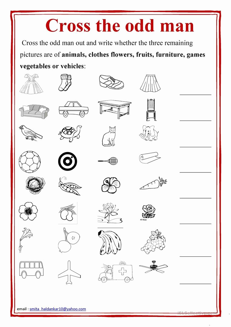 Odd One Out Worksheets for Preschoolers Lovely Cross the Odd Man Out English Esl Worksheets for Distance