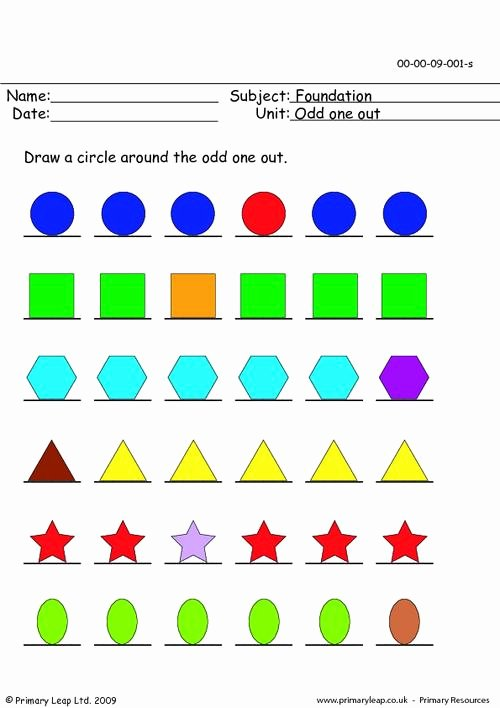 Odd One Out Worksheets for Preschoolers Lovely Odd One Out Printable Primary Worksheets