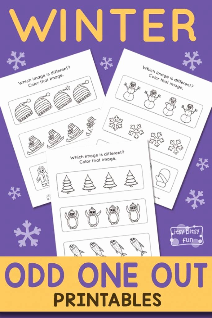 Odd One Out Worksheets for Preschoolers New Winter Odd E Out Worksheet Itsybitsyfun