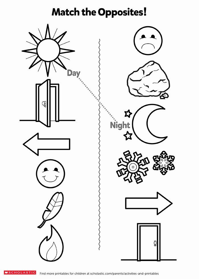 Opposite Worksheets for Preschoolers Free Understanding Opposites