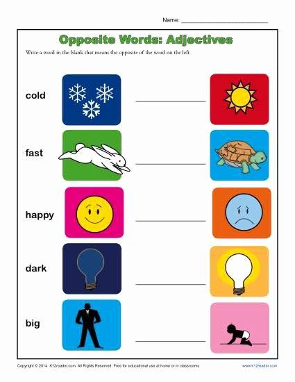 Opposite Worksheets for Preschoolers Ideas Kindergarten Antonym Worksheet Opposite Words Adjectives