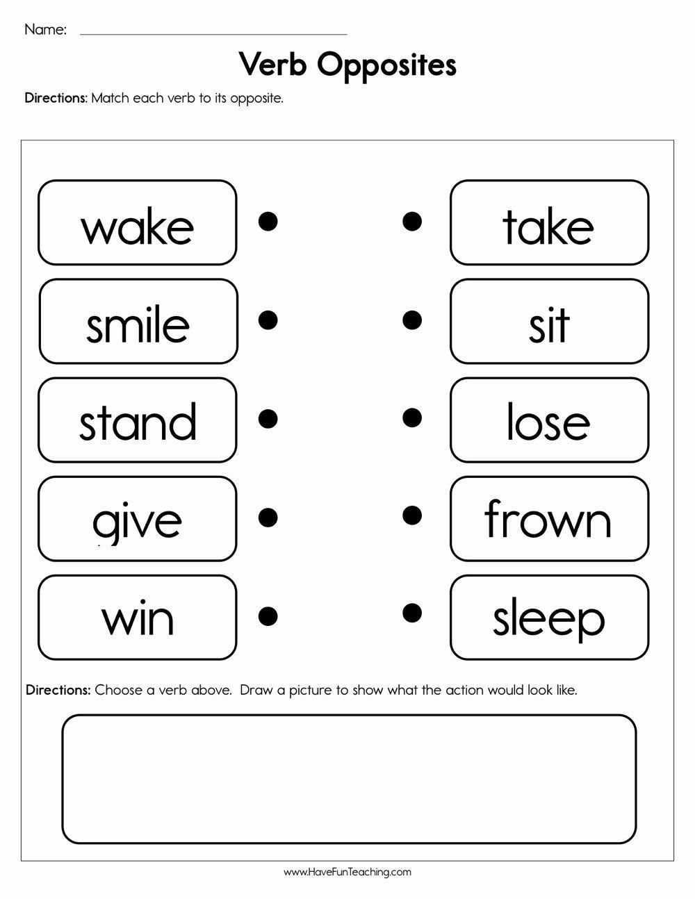 Opposite Worksheets for Preschoolers Inspirational Verb Opposites Worksheet