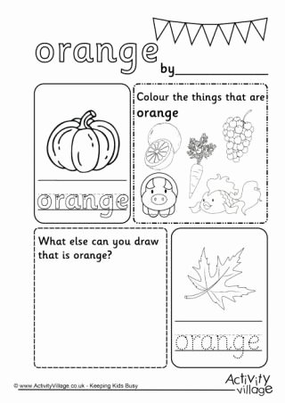 Orange Worksheets for Preschoolers Kids orange Colour Worksheet
