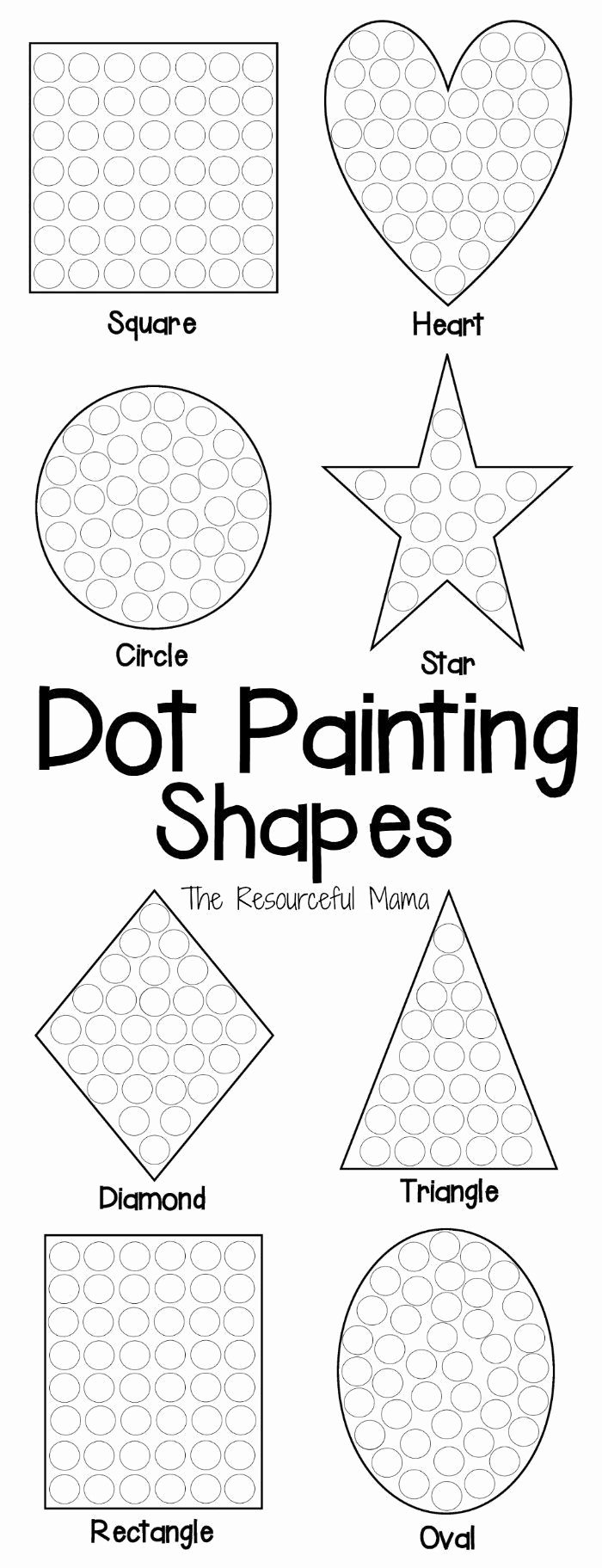 Painting Worksheets for Preschoolers Fresh Shapes Dot Painting Free Printable