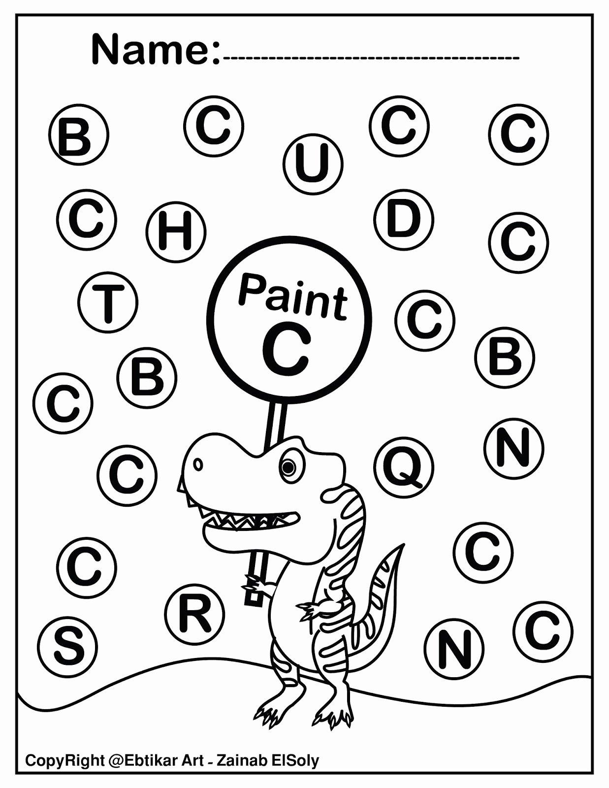 Painting Worksheets for Preschoolers Inspirational Worksheets Set Dinosaur Trex Activity Paint Dot
