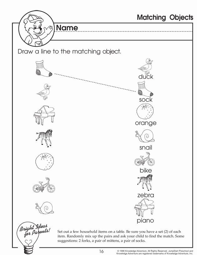 Pairing Worksheets for Preschoolers Best Of Matching Objects – Matching Worksheet for Preschoolers
