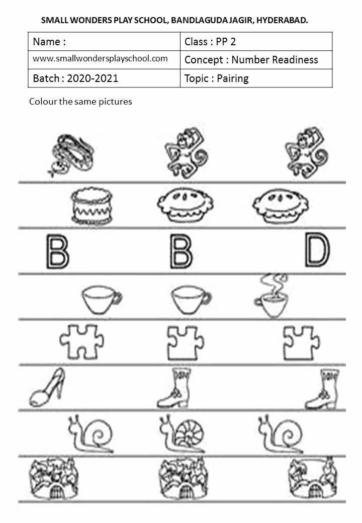 Pairing Worksheets for Preschoolers Kids Kindergarten Work Sheets